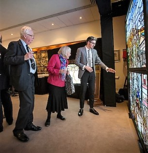Peter and Elizabeth Beesley admire Roots of Knowledge